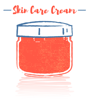 Pencil and textured style orange vector illustration of a beauty utensil moisturizing cream pot for face. Vettoriali