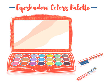 Pencil and textured style orange vector illustration of a beauty utensil eyeshadow box palette with a mirror. Çizim