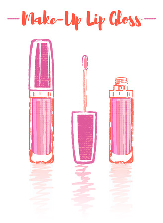 Pencil and textured style orange vector illustration of a beauty utensil pink lipstick makeup product with pigments, oils, waxes, and emollients that apply color, texture, and protection to the lips.