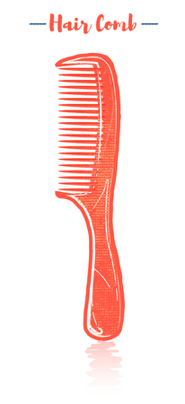 Pencil and textured style orange vector illustration of a beauty utensil hand detangling hair comb.