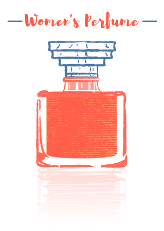 Pencil and textured style orange vector illustration of a beauty utensil perfume bottle product full of flowers fragrances.