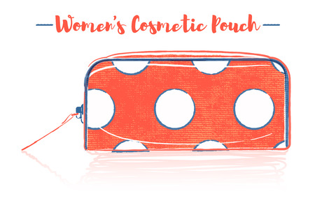 Pencil and textured style orange vector illustration of a beauty utensil dotted pattern design pouch product.