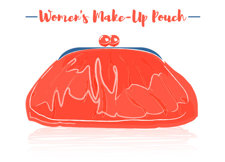 Pencil and textured style orange vector illustration of a beauty utensil retro round pouch with clap clasp in metal.