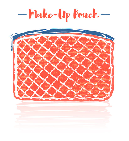 Pencil and textured style orange vector illustration of a beauty utensil padded cloth design pouch.