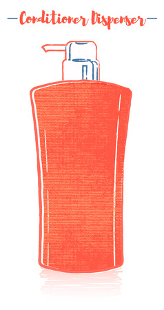 Pencil and textured style orange vector illustration of a beauty utensil hair rinse conditioner dispenser bottle.