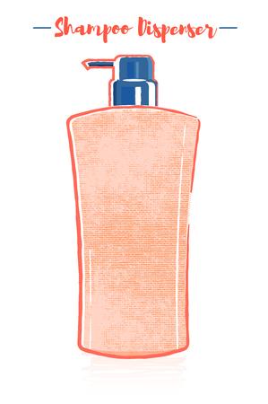 Pencil and textured style orange vector illustration  of a beauty utensil hair shampoo dispenser bottle. Çizim