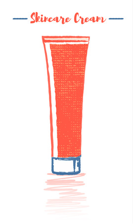 Pencil and textured style orange vector illustration of a beauty utensil moisturizing cream tube for face and hands.