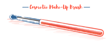 Pencil and textured style orange vector illustration of a beauty utensil cosmetic brush.
