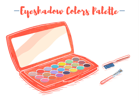 Pencil and textured style orange vector illustration of a beauty utensil eye shadow box palette with a mirror.