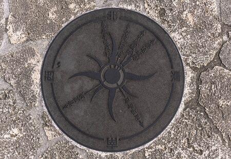 Manhole on the Agaiteida bridge which means East Sun on the Hanta road near the North Nakagusuku Castle in Okinawa Island Stok Fotoğraf