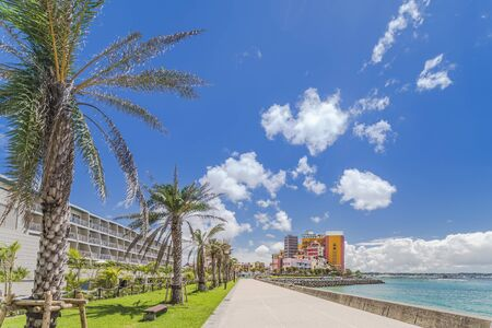 Beach coast lined with palm trees of Distortion Seaside, Oak fashion, Depot Island Seaside buildings and Vessel Hotel Campana in the vicinity of the American Village in Chatan City of Okinawa.