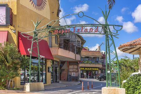 American Village, Japan - September 17, 2018: Shop Mall of the American Village of Chatan City in Okinawa where Seaside Distortion, Oak Fashion and Seaside Island Depot are located
