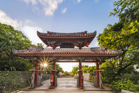 Shureimon gate of Shuri Castle's in the Shuri neighborhood of Naha, the capital of Okinawa Prefecture, Japan. Stok Fotoğraf - 127376800