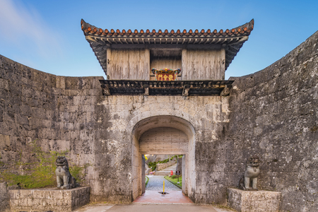 Kankaimon gate of Shuri Castle's in the Shuri neighborhood of Naha, the capital of Okinawa Prefecture, Japan. Stok Fotoğraf - 127376802