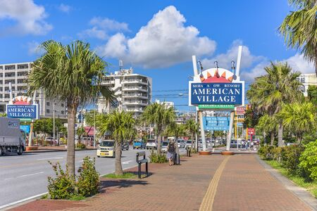 American Village, Japan - September 17, 2018: Mihama Town Resort American Big Village located in Chatan City near Sunset Beach in Okinawa. Stok Fotoğraf - 127812980
