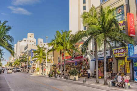 American Village, Japan - September 17, 2018: Kokusai dori street which means Naha in Okinawa