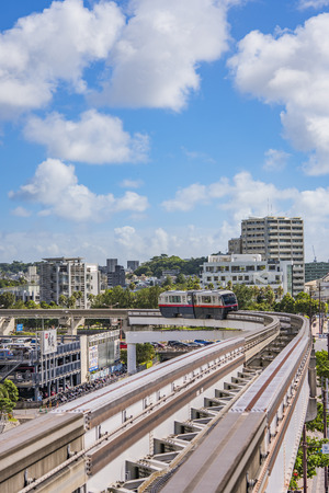 NAHA, JAPAN - September 14, 2018: Naha city monorail in Okinawa island Stok Fotoğraf - 127548543