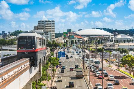 NAHA, JAPAN - September 14, 2018: Naha city monorail in Okinawa island