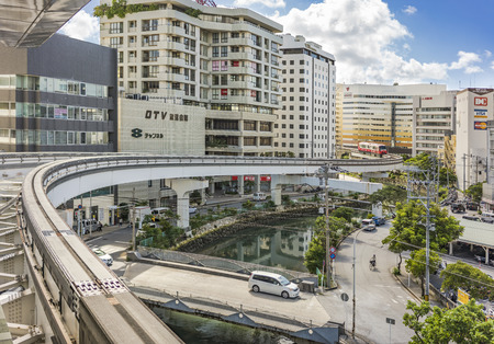 NAHA, JAPAN - September 14, 2018: Naha city monorail in Okinawa island Stok Fotoğraf - 127688118