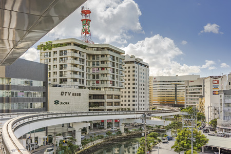 NAHA, JAPAN - September 14, 2018: Naha city monorail in Okinawa island Stok Fotoğraf - 127688119