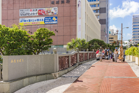 NAHA, JAPAN - September 14, 2018: Onari bridge in Naha city in Okinawa island. Editöryel