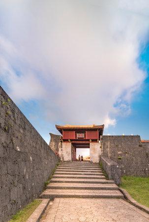 Shukujunmon gate of Shuri Castle in the Shuri neighborhood of Naha, the capital of Okinawa Prefecture, Japan.