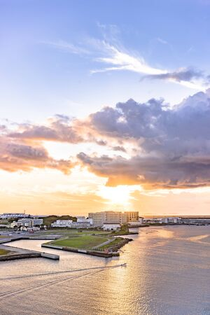Sunset over the sea in Sumiyoshi-cho, Naha, Okinawa from the  Hotel
