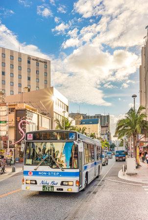 Naha, Japan - September 17, 2018: Kokusai dori street which means street where the Naha City non-step bus goes. Stok Fotoğraf - 127813001