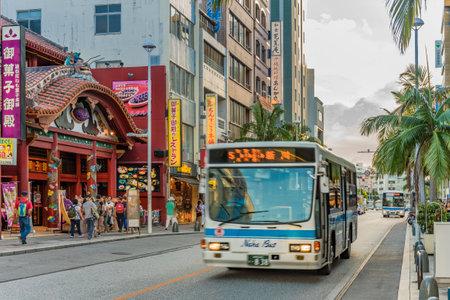 Naha, Japan - September 17, 2018: Kokusai dori street which means street where the Naha City non-step bus goes.