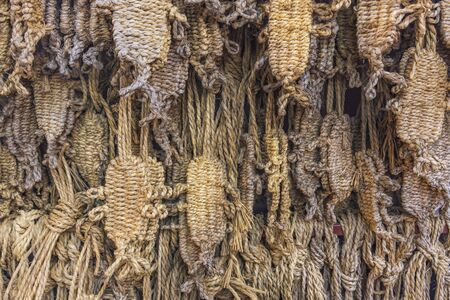 Straw sandals Waraji donated by Togakuji temple worshipers for monks whenever their healing wishes to Akagami Nyoo deity are granted.