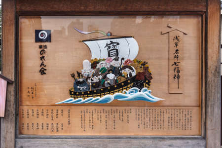 tokyo, japan - january 28 2020: Wooden signs depicting the seven Japanese gods of happiness on their Takarabune treasure ship in the Nakamise shopping avenue of the Asakusa district.