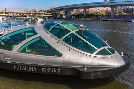 tokyo, japan - march 01 2020: Close-up on the cockpit of the Japanese Hotaluna spaceship-shaped Bateau Mouche excursion boat inspired by the manga world of Reiji Matsumoto moored on the Sumida River. Editöryel