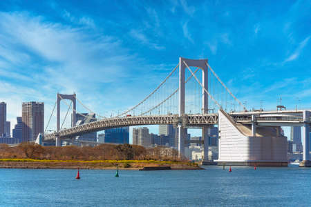 Bird Island of Odaiba Bay in front of the double-layered suspension Rainbow Bridge in the port of Tokyo with cirrus clouds in the sky.