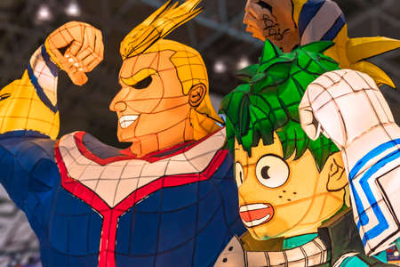 chiba, japan - december 22 2018: Illuminated Nebuta lanterns handmade of painted washi paper and wire frame depicting manga and anime characters of My Hero Academia during the convention Jump Festa 19 Editorial