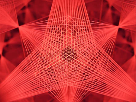 Kaleidoscopic red background depicting laser beams shaped as geometrical forms shining and reflecting in multiple mirrors layers.