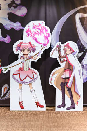 tokyo, japan - April 30 2018: Magical girls life sized standee of the Japanese anime Puella Magi Madoka Magica during the exhibition of Shaft animation studio in the Yurakucho Marui Department store.