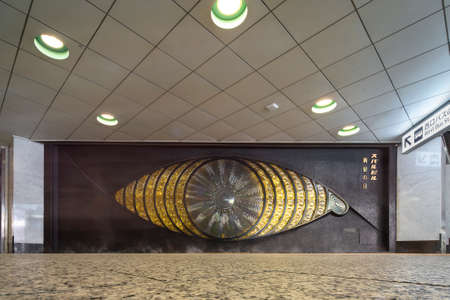 tokyo, japan - march 25 2021: Eye-catching glass mosaic public art sculpture named the eye of shinjuku created by the Japanese artist yoshiko miyashita in 1969 in the underground of Subaru building.