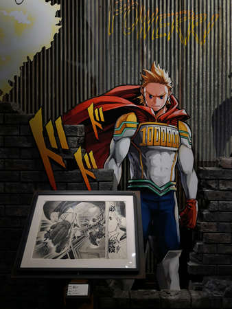 tokyo, japan - june 03 2021: Life sized standee of the superhero character Mirio Togata from the Japanese manga My Hero Academia during the exhibition in Mori Arts Center Gallery called drawing smash. Editöryel