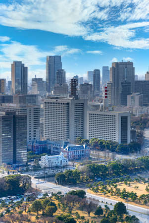 tokyo, japan - january 02 2021: Bird's-eye view on the Kokyo Gaien National Garden of Tokyo Imperial Palace with the red brick building of Ministry of Justice and Kasumigaseki skyscrapers. Editöryel
