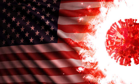 Computer graphics illustration of the national flag of the United States of America threatened by an aggressive coronavirus cell shining and burning with scarlet flames during pandemic of covid-19.