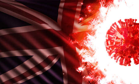 Computer graphics illustration of the national flag of the United Kingdom or england threatened by an aggressive coronavirus cell shining and burning with scarlet flames during pandemic of covid-19.
