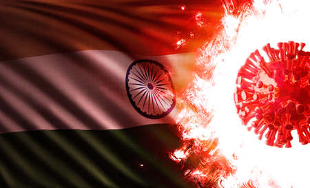 Computer graphics illustration of the national flag of the Republic of India threatened by pandemic of covid-19 with an aggressive coronavirus delta variant cell shining and burning in scarlet flames. Stok Fotoğraf