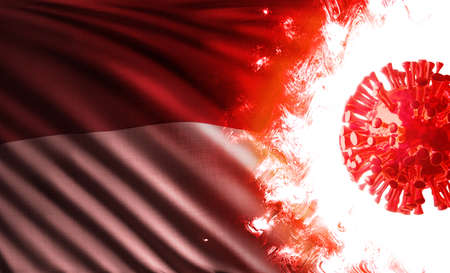Computer graphics illustration of the national flag of Republic of Indonesia threatened by pandemic of covid-19 with an infectious coronavirus delta variant cell shining and burning in scarlet flames. Stok Fotoğraf
