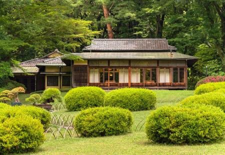 tokyo, japan - june 25 2021: Niwaki shrubs and bonzai trees in the Meiji Jingu Inner Garden overlooked by the Japanese chashitsu tea room Kakuuntei teahouse used by Meiji emperor for tea ceremony. Editöryel