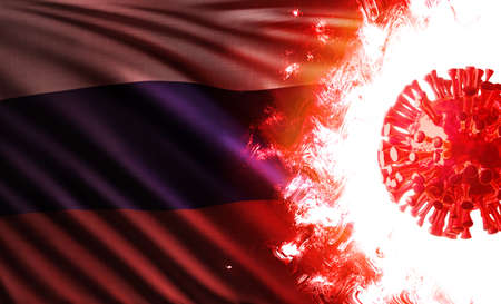 3D illustration of the national flag of Russia or Russian Federation threatened by pandemic of covid-19 with an infectious coronavirus delta variant cell shining and burning in scarlet flames. Stok Fotoğraf
