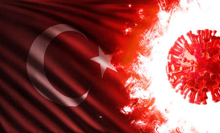 3D illustration of the national flag of Turkey or Republic of Turkey he is endangered by pandemic of covid-19 with an infectious coronavirus lambda variant cell shining and burning in scarlet flames. Stok Fotoğraf