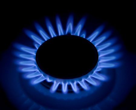 Flames of gas stove in the dark Stock Photo - 4368941