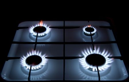 Blue flames of gas stove Stock Photo - 4368944