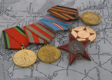 commendation: Second World War medals on a map Stock Photo