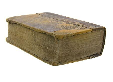 encyclopedias: very old bible on the white background Stock Photo